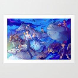 Ghibli sky Art Print