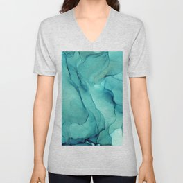 Turquoise Ink Waves Abstract Alcohol Ink Unisex V-Neck