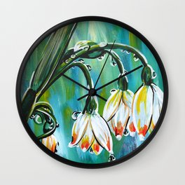 Drips on droopy flowers Wall Clock