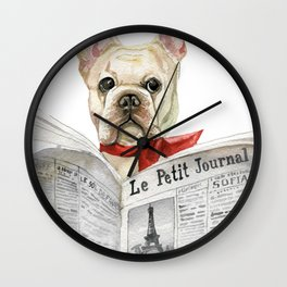 French bulldog with newspaper, bonjour Wall Clock