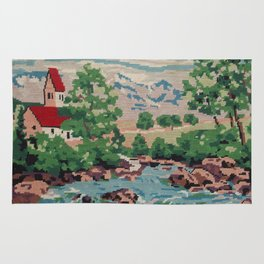 Cross stitch Red RoofTops Rug