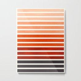 Watercolor Gouache Mid Century Modern Minimalist Colorful Burnt Sienna Stripes Metal Print