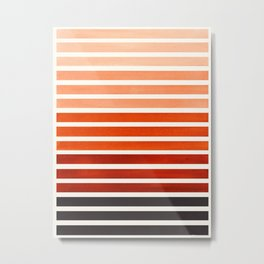 Watercolor Gouache Mid Century Modern Minimalist Colorful Burnt Sienna Stripes Metal Print