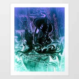The squid and the dragon Art Print