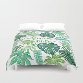 Tropical Pura Vida Palm Leaves and Monstera Watercolor Duvet Cover