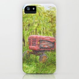 Old Massey Harris 55 tractor in rural France iPhone Case