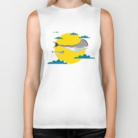 the whale Biker Tanks featuring WHALE by mark ashkenazi