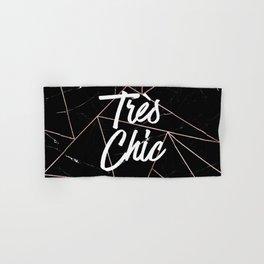 Tres Chic Black Geometric Marble Gold Triangles Hand & Bath Towel