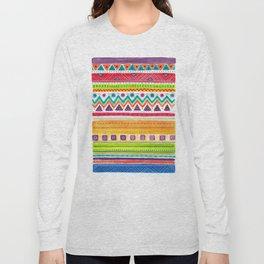 colorful zentangle ethnic dance Long Sleeve T-shirt