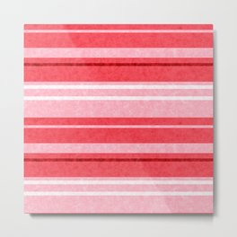 Red Grunge Stripes Texture Metal Print