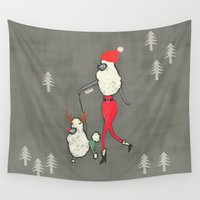 poodle Wall Tapestries featuring Merry Poodle Christmas! by miba