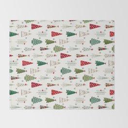 Scandinavian Christmas Trees Pattern - Red Green Throw Blanket