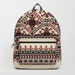 Ivory Folk Pattern Backpack
