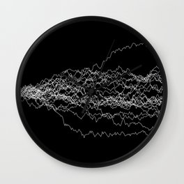 25 paths of discrete Brownian motion - black and white Wall Clock