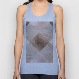Copper and Blush Rose Gold Marble Gingham Unisex Tank Top