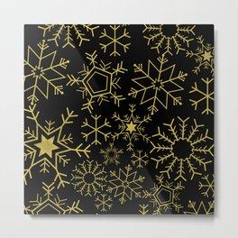 Gold and black snowflakes Metal Print