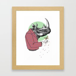 Cool Dude Rhino and Butterfly Framed Art Print