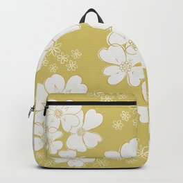 White thoughts on gold Backpack