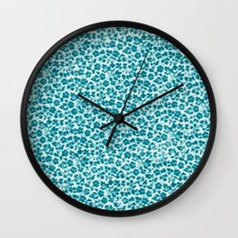 Turquoise Vintage Flowers Wall Clock