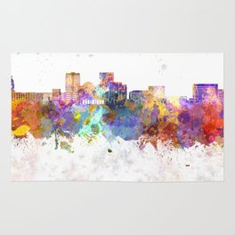 Evansville skyline in watercolor background Rug