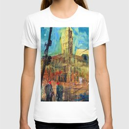 Impressionist style painting of Melbourne GPO Street Scene Landscape T-shirt