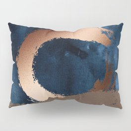 Navy Blue, Gold And Copper Abstract Art Pillow Sham