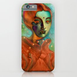 """Exotic woman in green and orange tropical jungle"" iPhone Case"