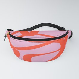 Pink Retro Lines Modern Abstract Brush Shapes Midcentury Line Shapes Vintage Fanny Pack