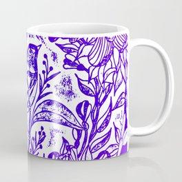 Songbird In Magnolia Wreath, Purple Linocut Coffee Mug