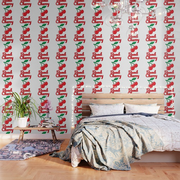 Cherry Bomb Retro Vintage Old Style design Wallpaper