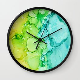 Alcohol Ink abstract in yellow, aqua, green, blue Wall Clock