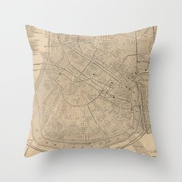 Vintage Map of New Orleans LA (1908) Throw Pillow