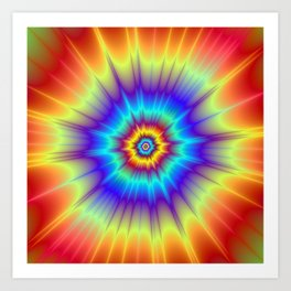 Blasted Blue Red and Yellow Art Print