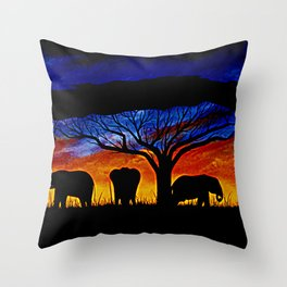 Sunset Elephants Throw Pillow
