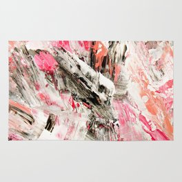 Candy Modern abstract pink salmon black grey acrylic brushstrokes painting Rug