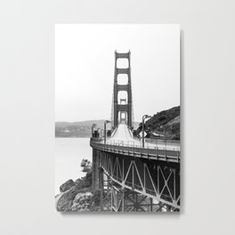 Golden Gate Bridge Black and White Metal Print