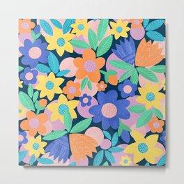 Spring Mod Flowers Pattern Metal Print