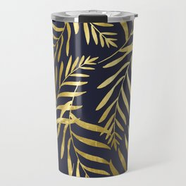 Gold Leaves on Navy Travel Mug
