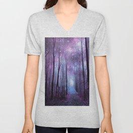 Fantasy Forest Path Muted Violet Unisex V-Neck