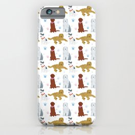 Dogs and paw-prints pattern iPhone Case
