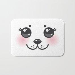 Kawaii funny albino animal white muzzle with pink cheeks and big black eyes Bath Mat