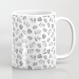 Simple Linework Roses - Black and White Coffee Mug
