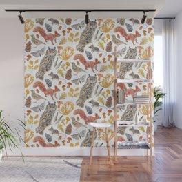 Autumn Wildlife Pattern Wall Mural
