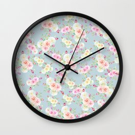 Girly pink blue lilac green watercolor country floral Wall Clock