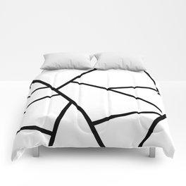 Black and White Fragments - Geometric Design I Comforters