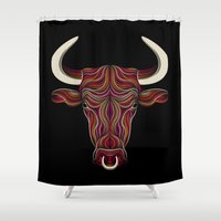 bull Shower Curtains featuring BULL by Patrick Seymour