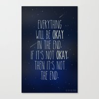 fault in our stars Canvas Prints featuring The Fault In Our Stars by Adel