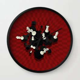 Chessboard and 3D Chess Pieces composition on red Wall Clock