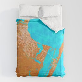 Corpus Christi, TX, USA, Gold, Blue, City, Map Comforters