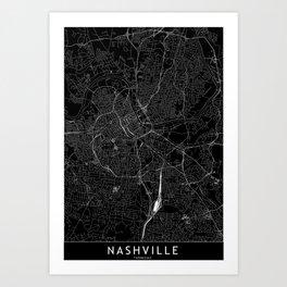 Nashville Black Map Art Print